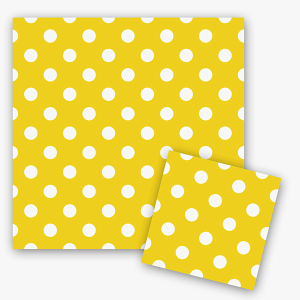 Салфетки Горошек Желтый 33см X 33см 12шт