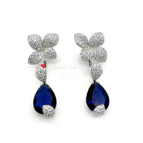 496073- Серьги Garden из серебра с синими кварцем