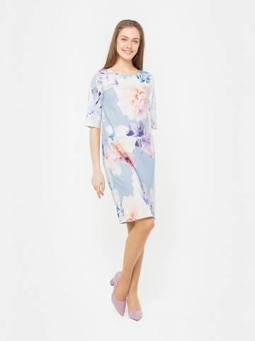 Фото голубое платье прямого покроя с крупным цветочным принтом - Платье З256а-926 (1)