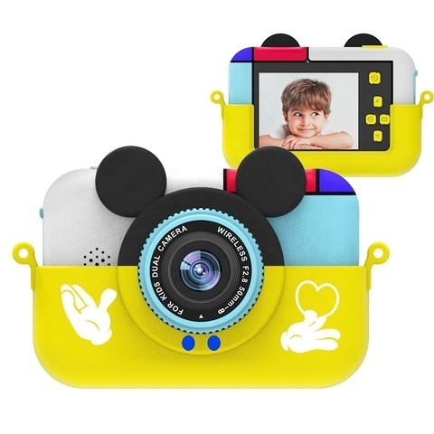 Детский цифровой фотоаппарат Микки Маус Желтый  2 камеры