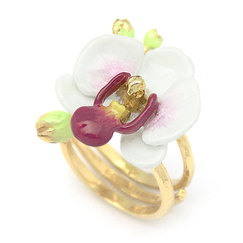 Кольцо Орхидея (белая)