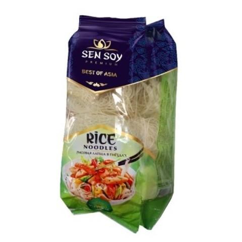 Лапша рисовая в гнездах RICE NOODLES Sen Soy, 400г