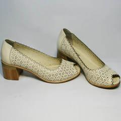 Туфли женские кожаные летние Sturdy Shoes 87-43 24 Lighte Beige.