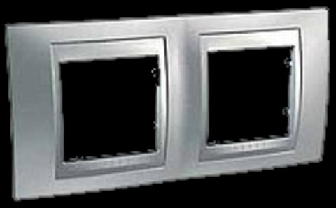 Рамка на 2 поста. Цвет Хром матовый-алюминий. Schneider electric Unica Top. MGU66.004.038