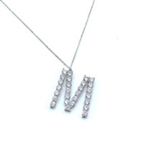 Подвеска из серебра с цирконами буква M