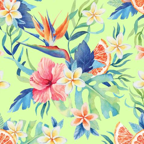 Тропические цветы. Лайм