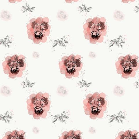 Розовые розы на белом фоне, скетч