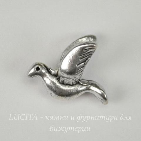 """Бусина металлическая """"Птичка"""" 14х12 мм (цвет - античное серебро)"""
