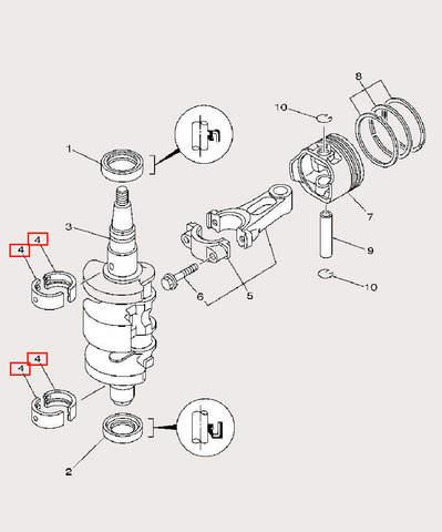 Подшипник коленвала для лодочного мотора F9,9 Sea-PRO (3-4)