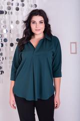 Айрис. Женская блузка больших размеров. Изумруд