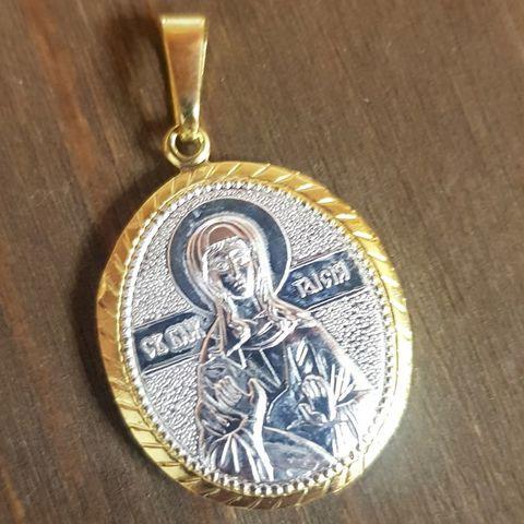 Нательная именная икона святая Таисия с позолотой кулон с молитвой
