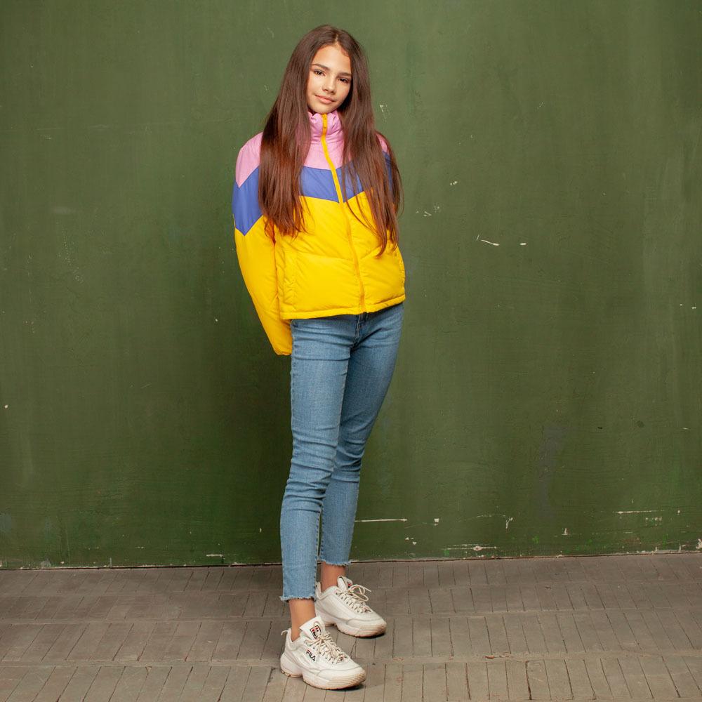 Подростковая демисезонная желтая куртка из водоотталкивающей плащевки