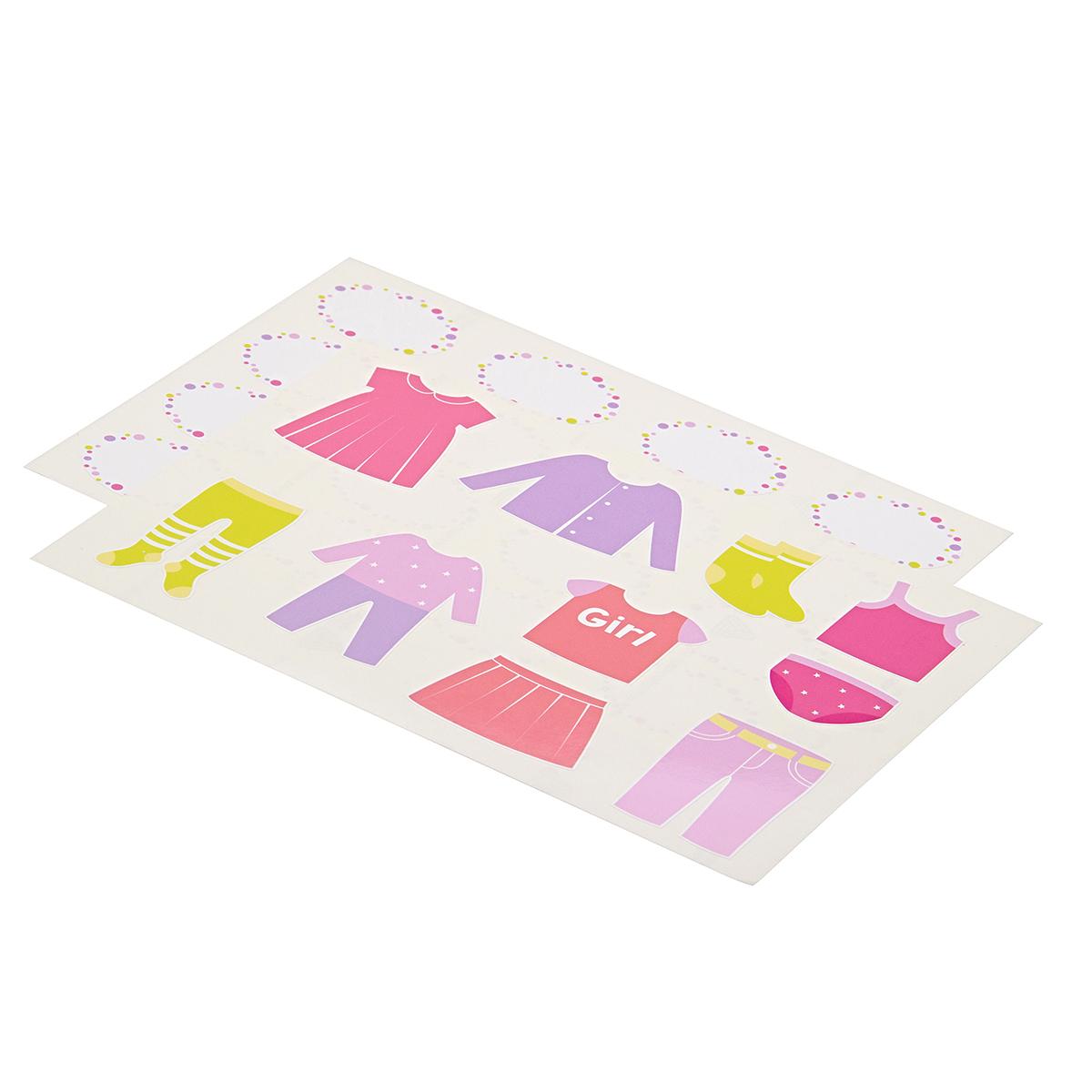 Комплект наклеек в детскую комнату 21×29,7 см, 2 листа, девочки
