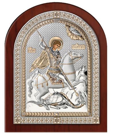 Серебряная икона Святой Георгий Победоносец (эксклюзивная рамка)