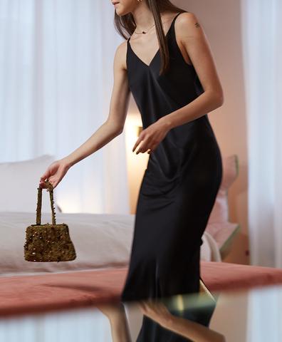 Платье Сарже черное