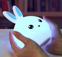 светильник детский ночник Colorful Silicone Lamp голубой зайчик изображение
