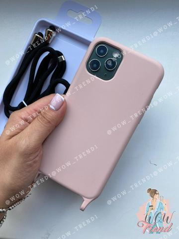 Чехол iPhone 11 Pro Max Silicone Case crossbody bag /pink sand/