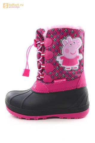 Зимние сапоги для девочек непромокаемые с резиновой галошей Свинка Пеппа (Peppa Pig), цвет фуксия, Water Resistant. Изображение 3 из 16.