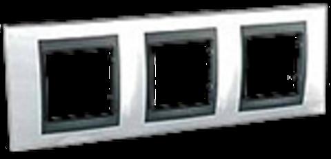 Рамка на 3 поста. Цвет Нордик-графит. Schneider electric Unica Top. MGU66.006.292