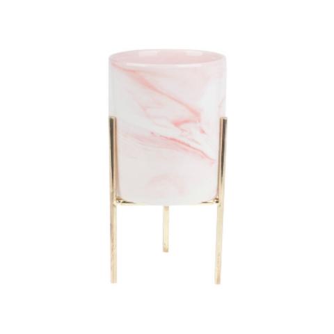 Бело-розовое кашпо на подставке большое