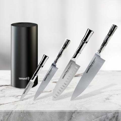 Набор из 4 кухонных стальных ножей Samura BAMBOO и подставки KBF-101