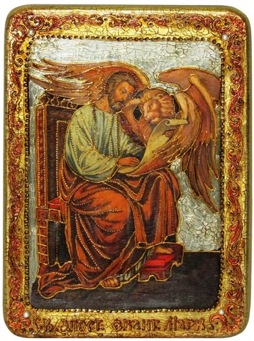 Инкрустированная икона Святой апостол и евангелист Марк 29х21см на натуральном дереве в подарочной коробке