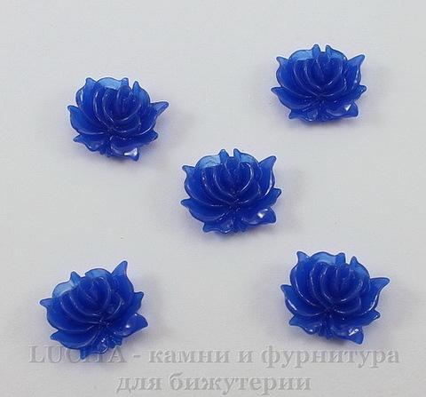 """Кабошон акриловый """"Дикая роза"""", цвет - темно-синий, 12х10 мм, 5 штук"""