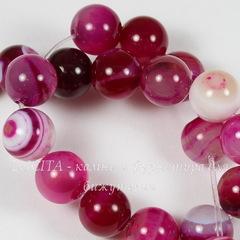 Бусина Агат Полосатый (тониров), шарик, цвет - ярко-розовый, 10 мм, нить