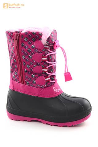 Зимние сапоги для девочек непромокаемые с резиновой галошей Свинка Пеппа (Peppa Pig), цвет фуксия, Water Resistant. Изображение 2 из 16.