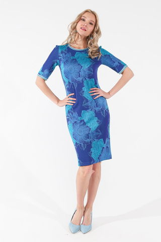 Фото полуприлегающее синее платье с цветочным принтом и коротким рукавом - Платье З451-459 (1)
