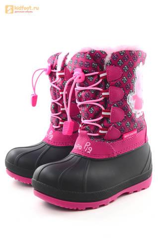 Зимние сапоги для девочек непромокаемые с резиновой галошей Свинка Пеппа (Peppa Pig), цвет фуксия, Water Resistant. Изображение 6 из 16.