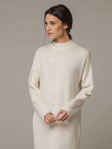 Женское белое платье с разрезами из шерсти и кашемира - фото 2