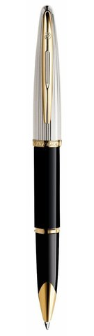 Ручка-роллер Waterman Carene De Luxe, цвет: Black/Silver, стержень: Fblk123