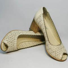 Бежевые туфли на каблуке женские летние Sturdy Shoes 87-43 24 Lighte Beige.