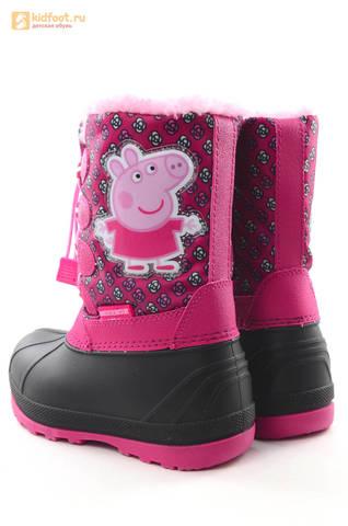Зимние сапоги для девочек непромокаемые с резиновой галошей Свинка Пеппа (Peppa Pig), цвет фуксия, Water Resistant. Изображение 7 из 16.