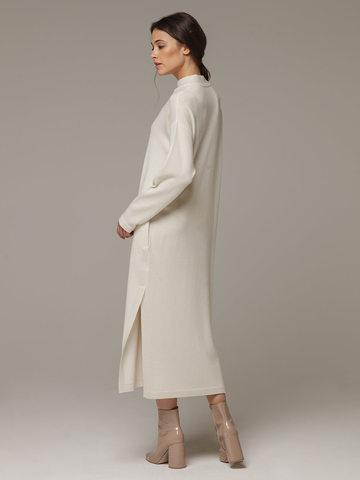 Женское белое платье с разрезами из шерсти и кашемира - фото 3