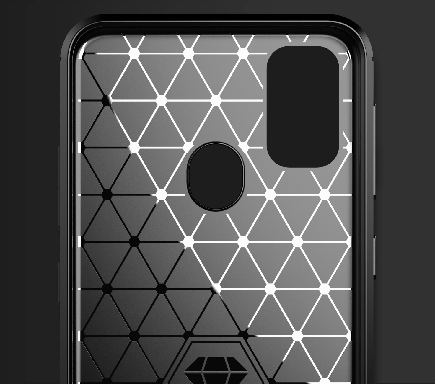 Чехол накладка для Samsung Galaxy M21, черный цвет, серии Carbon от Caseport