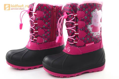 Зимние сапоги для девочек непромокаемые с резиновой галошей Свинка Пеппа (Peppa Pig), цвет фуксия, Water Resistant. Изображение 8 из 16.