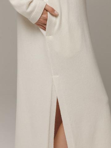 Женское белое платье с разрезами из шерсти и кашемира - фото 5