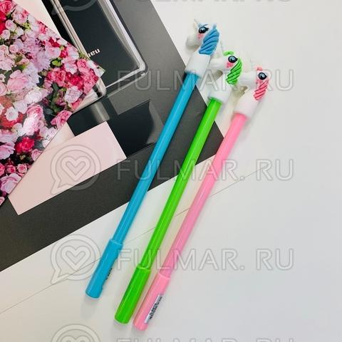 Набор шариковых синих ручек для девочки  Единороги 3 штуки
