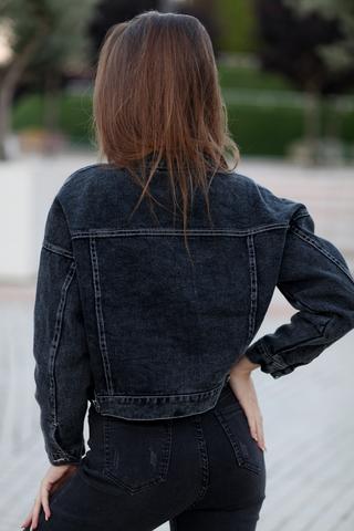 Джинсовая куртка темная короткая интернет магазин
