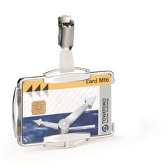 Бейдж Durable с защитой от RFID горизонтальный/вертикальный 90x70 мм с зажимом (10 штук в упаковке)