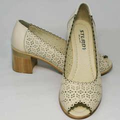 Бежевые туфли на толстом каблуке женские летние Sturdy Shoes 87-43 24 Lighte Beige.