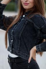 Джинсовая куртка темная короткая nadya