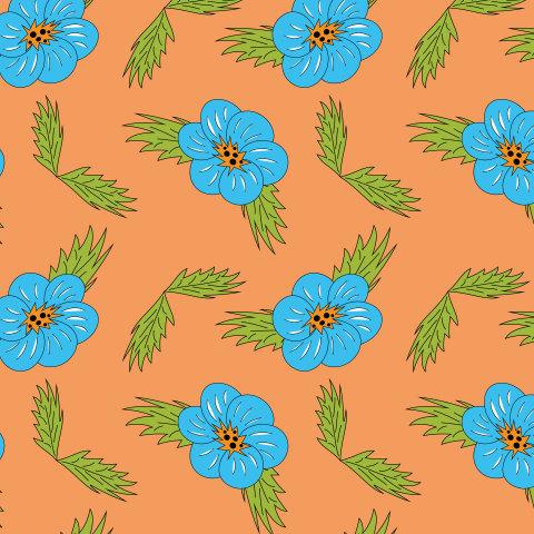 Голубые цветы на оранжевом фоне