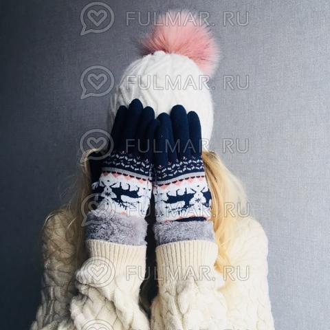 Перчатки с оленями шерстяные женские (Цвет: синий)