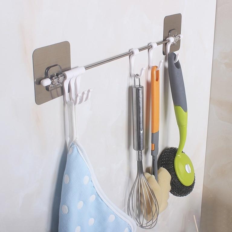 Держатель планка с крючками для кухни и ванной фото