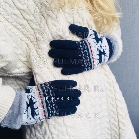 Перчатки с оленями шерстяные (Цвет: синий)