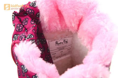 Зимние сапоги для девочек непромокаемые с резиновой галошей Свинка Пеппа (Peppa Pig), цвет фуксия, Water Resistant. Изображение 16 из 16.