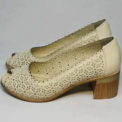 Туфли женские бежевые на каблуке летние Sturdy Shoes 87-43 24 Lighte Beige.